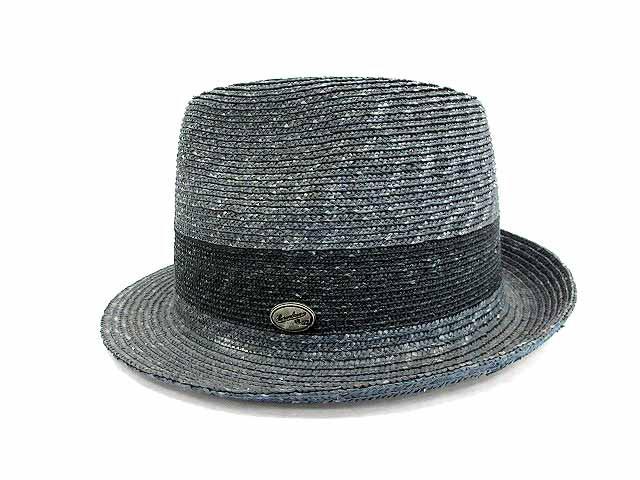 ボルサリーノ Borsalino 中折れ ハット 麦わら帽子 ネイビー M /☆Q17 メンズ ベクトル【中古】