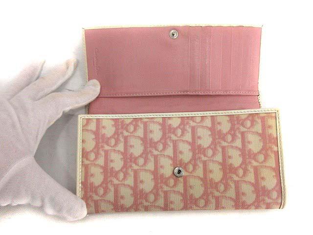 クリスチャンディオール Christian Dior 長財布 二つ折り トロッター ピンク /KH レディース ベクトル【中古】