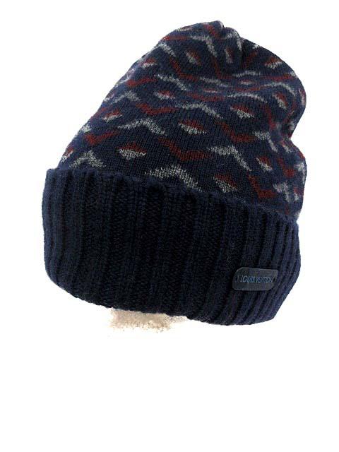 595cc368a1cbe0 【中古】ルイヴィトン LOUIS VUITTON ニット帽 ビーニー キャップ GEOMETRIC WAVES HAT カシミヤ 紺