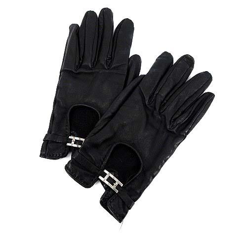 736ee03b4c26 エルメス HERMES 手袋 グローブ ラムレザー 黒 ○D /☆K レディース ベクトル【中古】