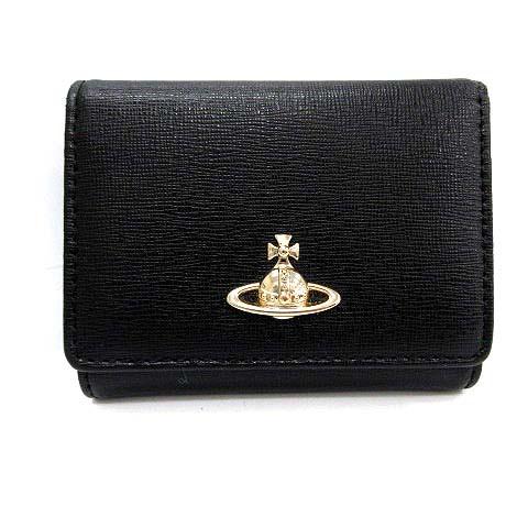 c5cb7e29c633 ヴィヴィアンウエストウッド Vivienne Westwood 財布 三つ折り オーブ レザー 黒 ブラック /KH レディース