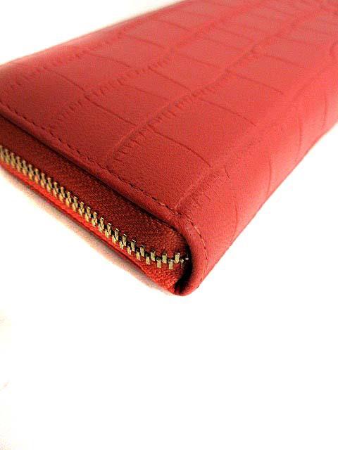 シャルエ CHARUER 長財布 レザー クロコ型押し ラウンドファスナー ピンク /SH レディース ベクトル【中古】