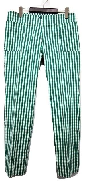 【】未使用品 ランバン LANVIN COLLECTION ギンガムチェックパンツ 緑×白 グリーンホワイト 42 綿混