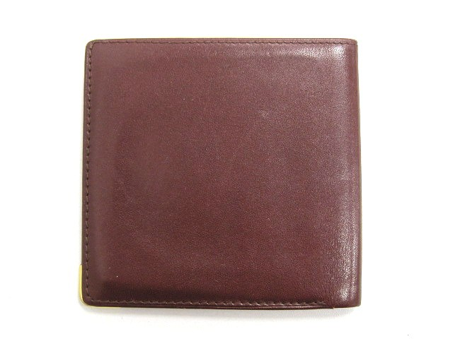 548194757add カルティエ Cartier マストライン 二つ折り札入れ ボルドー レザー コンパクト財布 赤系 メンズ レディース