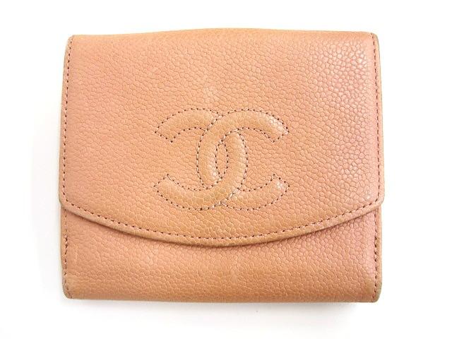 1534d3e16563 シャネル CHANEL Wホック二つ折り財布 ピンク系 ココマーク キャビアスキン A13496 コンパクト ウォレット