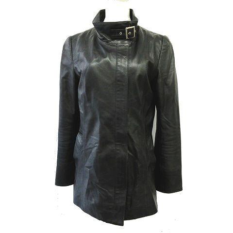 【】ブルージュ BOURGES ライダース ジャケット ブルゾン ベルト付き サイズ38 黒 ブラック レディース