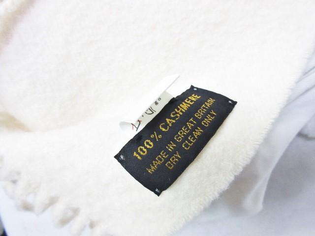 ポールカ PAULE KA マフラー カシミヤ100% ロゴ 刺繍 フリンジ 無地 白 ホワイト 0131 レディース ベクトル【中古】