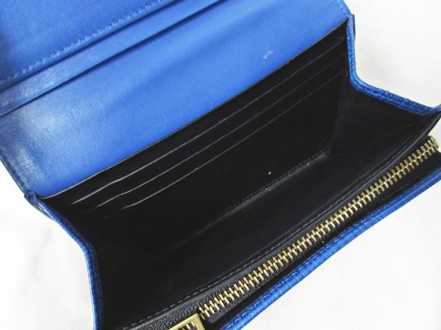 ロエベ LOEWE 二つ折り財布 リネン コンパクト レザー 型押し ロゴ ブルー 青 0217 レディース ベクトル【中古】