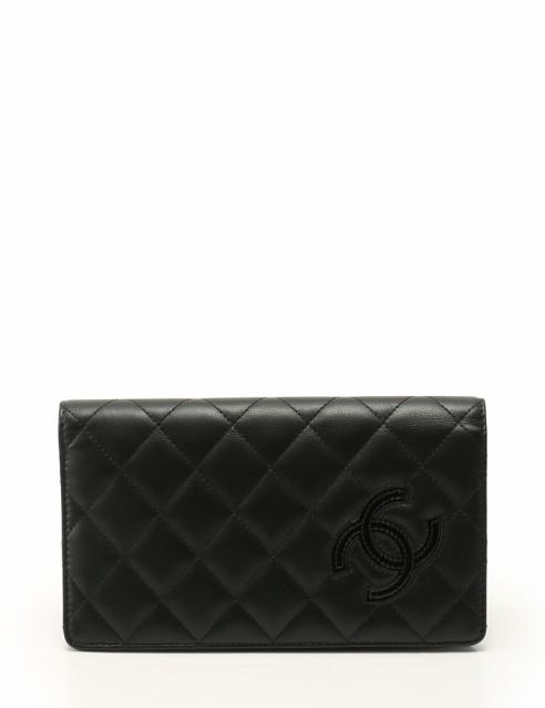 313c2d2a73f7 シャネル CHANEL マトラッセ 長財布 2つ折り 黒 ブラック 小物 ラムスキン レザー A80211 箱 保存袋
