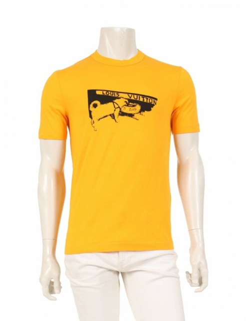 豪華 【】ルイヴィトン LOUIS VUITTON Tシャツ オレンジ 黒 XS トップス 半袖 プリント レーヨン 犬プリント DOG'S BAR, YELLOW-CORP e6242a17