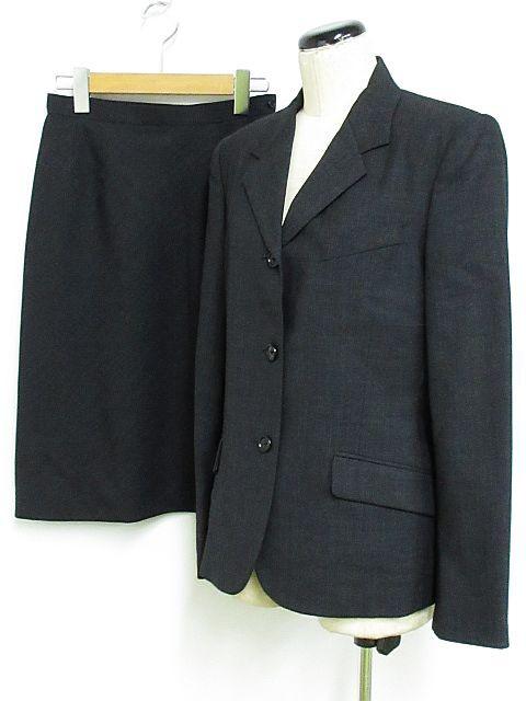 【】マーガレットハウエル スーツ セットアップ スカートスーツ 膝丈 ウール100% 薄手 オフィス グレー系 2 ◆01