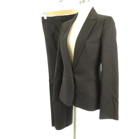 【】インタープラネット スーツ セットアップ テーラードジャケット 長袖 ロングパンツ スラックス 黒 38 レディース