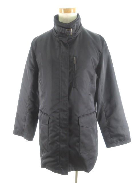 【】ジェラールダレル GERARD DAREL コート ステンカラー 比翼 ジップアップ ライナー取り外し可能 黒 ブラック アウター