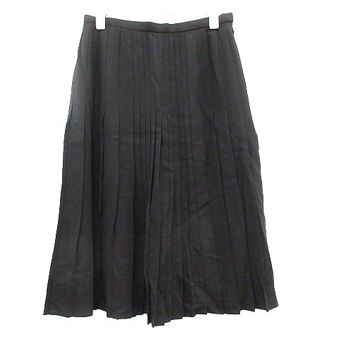 【】ランバン LANVIN コレクション COLLECTION スカート ミモレ ロング プリーツ 38 黒 ブラック レディース