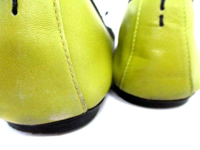 ジェイ&エムデヴィッドソン J&M Davidson バレエシューズ レザー リボン 黄緑 38 レディース ベクトル【中古】