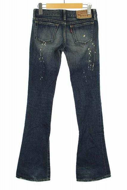 マウジー moussy JEANS パンツ デニム ジーンズ ダメージ加工 ブーツカット 紺 24 レディース ベクトル【中古】