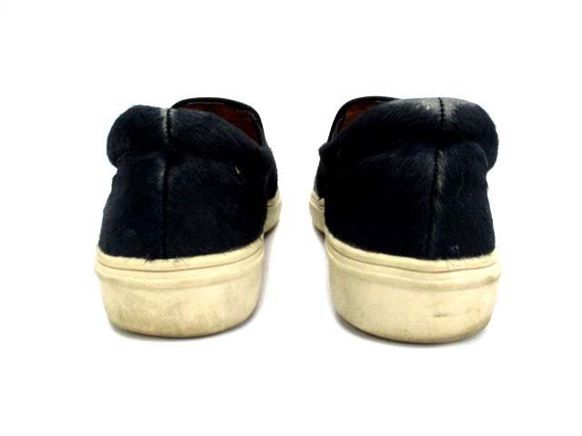 ランバンオンブルー LANVIN en Bleu 靴 スリッポン ハラコ フラット 23 黒 /DJ12 ● レディース ベクトル【中古】
