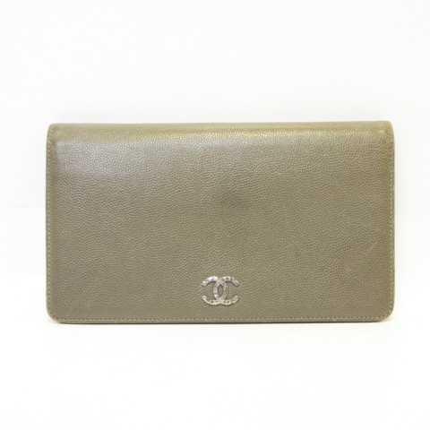 c8e099012242 シャネル CHANEL A46314 セブルガ キャビアスキン 長財布 二つ折り ココマーク グレージュ MH06 レディース