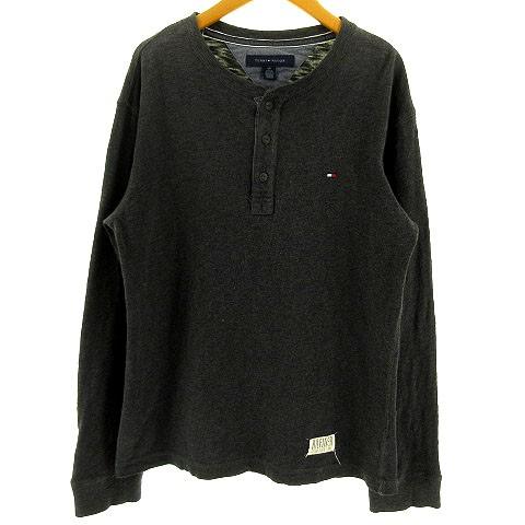 5f2f98290c5b1 トミーヒルフィガー TOMMY HILFIGER Tシャツ ヘンリーネック 長袖 コットン グレー S メンズ