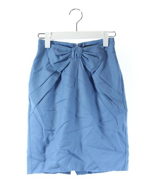 【】ジャスグリッティー JUSGLITTY スカート ミニ タイト リボン ウール 水色 0 /DK29 レディース