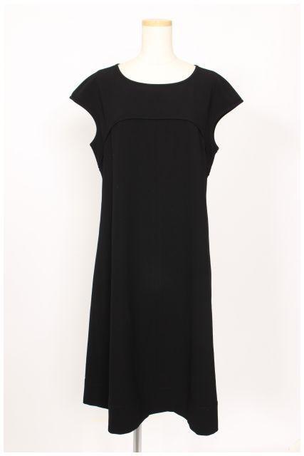 【】トゥービーシック TO BE CHIC ドレス 17SS ダブルクロス ウォッシャブル ノースリーブ ひざ丈 フレア 42 黒