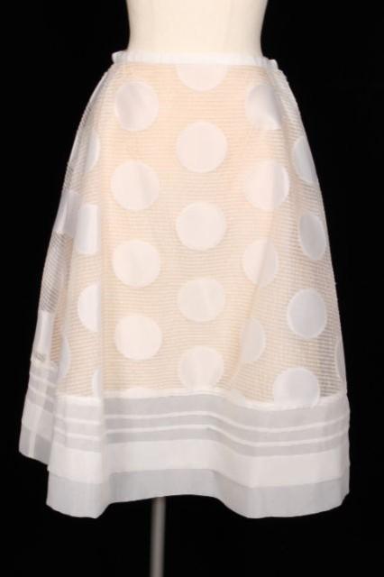 【】チェスティ Chesty 18SS スカート ミモレ フレア Dot Circular 0 白 ホワイト /yt0425 レディース