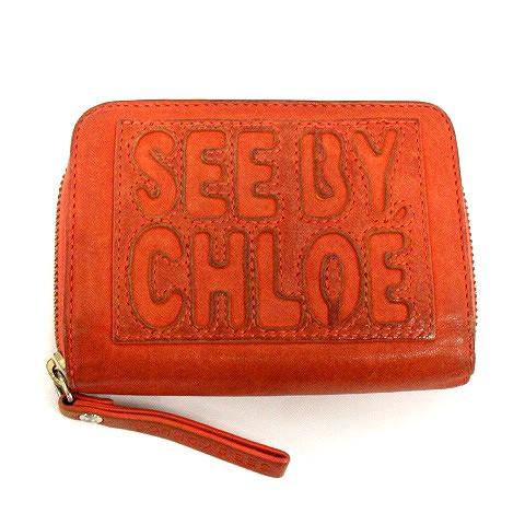 90564e188eb3 シーバイクロエ SEE BY CHLOE 財布 二つ折り ロゴ レザー オレンジ /KS10 レディース