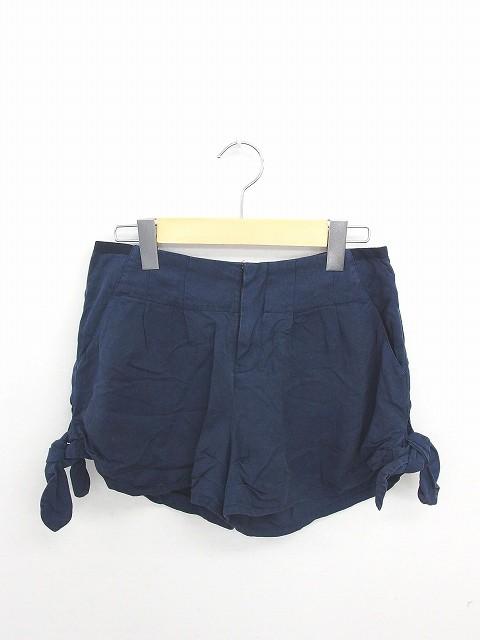 【】ジルスチュアート JILL STUART パンツ ショート キュロット 無地 シンプル ジップフライ 0 紺 ネイビー /TT48