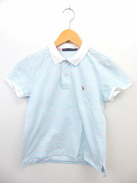 【】ラルフローレン RALPH LAUREN 国内正規 ポロシャツ ボーダー 半袖 ヘンリーネック 刺繍 M ブルー ピンク /ST25