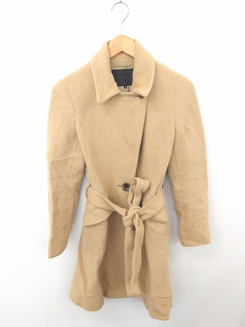 【】アンタイトル UNTITLED コート アウター ステンカラー ひざ丈 ウエストリボン アルパカ ウール混 長袖 2 茶