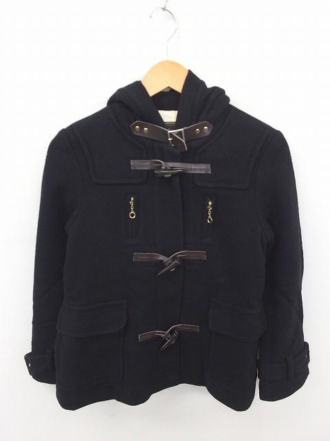 【】ブロードゥリー&コー Broderie&Co ナノユニバース コート アウター ダッフル フード ショート ウール 36 黒