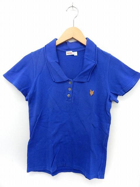 【】ネネット Ne-net ポロシャツ 半袖 ヘンリーネック きつね 刺繍 シンプル 2 ブルー /ST52 レディース