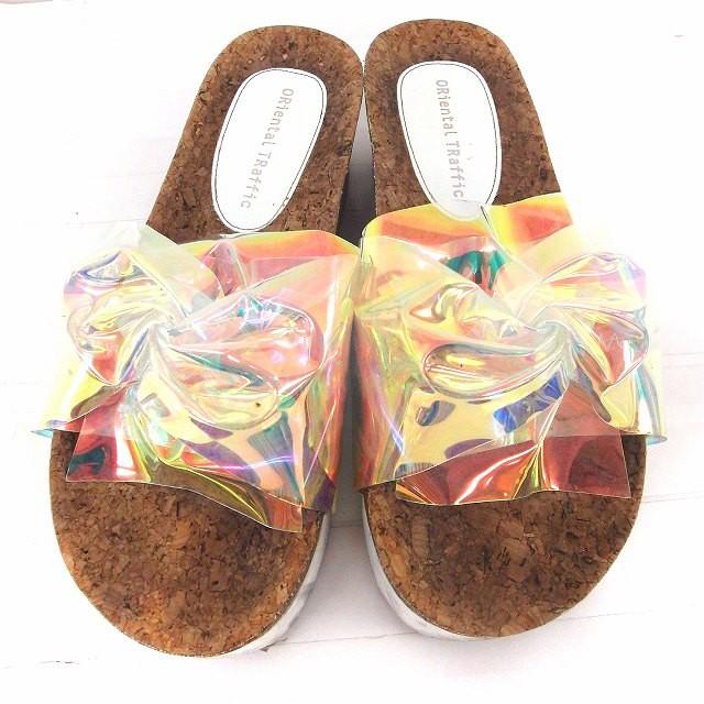 【中古】オリエンタルトラフィック ORIENTAL TRAFFIC 靴 シューズ サンダル ビーチ 厚底 コルク S レインボー /FT49