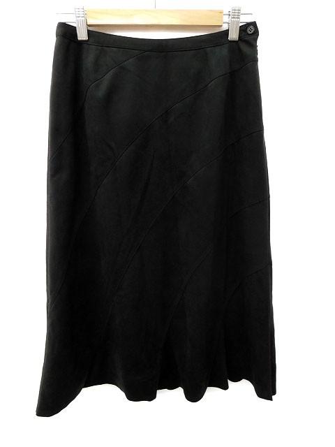 【】ボールジー BALLSEY トゥモローランド スカート 台形 スリット ロング マキシ 38 黒 ブラック レディース