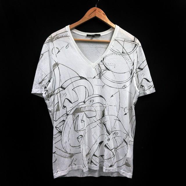 1a3e1f8bafe8 グッチ GUCCI Tシャツ カットソー 半袖 Vネック 総柄 プリント XL 白 ☆AA☆