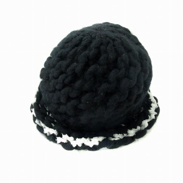 【】ネネット Ne-net ニット帽 ワッチキャップ ウール ナイロン 帽子 黒 ブラック /NM レディース