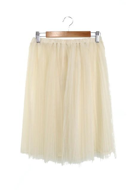【】未使用品 ミニマム MINIMUM スカート ひざ丈 プリーツ チュール シースルー 2 白 ホワイト アイボリー レディース