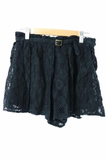 【】未使用品 ブロンディー blondy パンツ ショート キュロット レース ギャザー フリル ベルト S 黒 ブラック レディース
