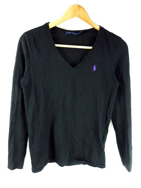 【】ラルフローレン RALPH LAUREN Tシャツ カットソー 長袖 ワンポイント M 黒 ブラック /MO レディース