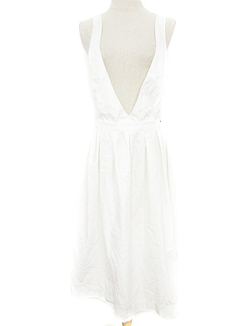 【】ルラシェ Relacher ワンピース ジャンパースカート 2way ミモレ ロング フレア F 白 ホワイト レディース