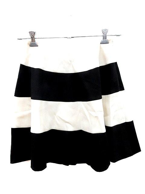 【】アナトリエ ANATELIER スカート フレア ミニ ボーダー 38 白 ホワイト オフホワイト 黒 ブラック /AU レディース