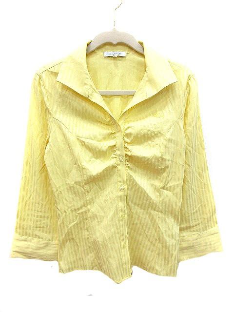 【】ナラカミーチェ NARA CAMICIE シャツ ブラウス ストライプ 七分袖 0 黄色 イエロー /AU レディース