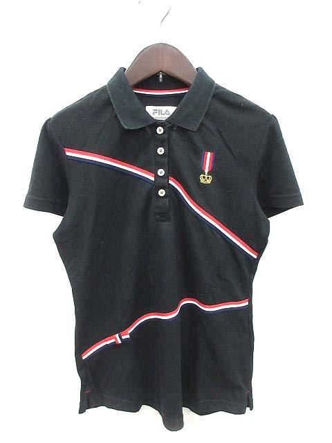 【】フィラ FILA ポロシャツ 半袖 刺繍 リボン 装飾 L 黒 ブラック /KB レディース
