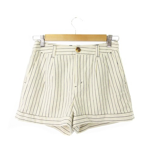 【】マーキュリービジュー Mercury Bijou パンツ ショート ストライプ S 白 ホワイト /KI19 ★ レディース