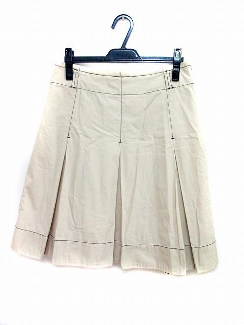 【】ダナキャランニューヨーク DKNY ジーンズ JEANS スカート プリーツ ひざ丈 6 ベージュ 黒 ブラック