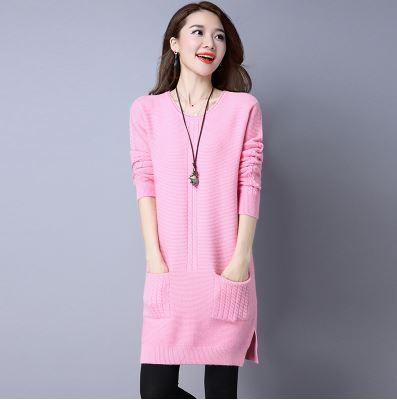 セーター ワンピース 長袖 ポケット 大きいサイズ レディース 女性 パープル グレーピンク 黒 赤