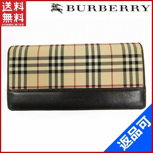バーバリー 財布 BURBERRY 長財布 ベージュ×ブラウン 即納 【中古】 X14076