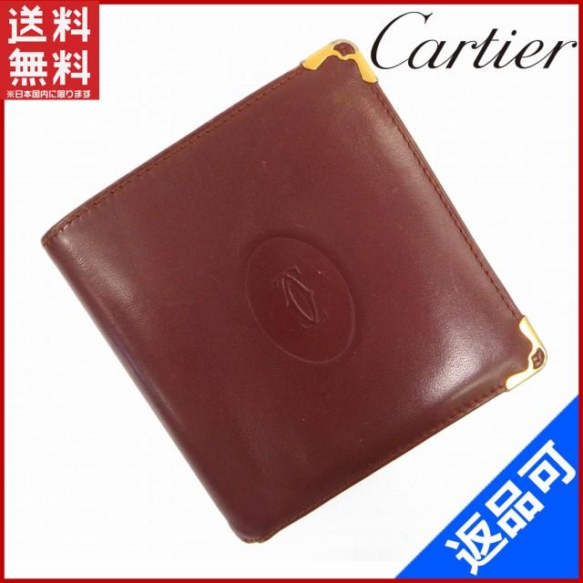 カルティエ 財布 Cartier 二つ折り財布 ボルドー 人気 激安 【中古】 X5921