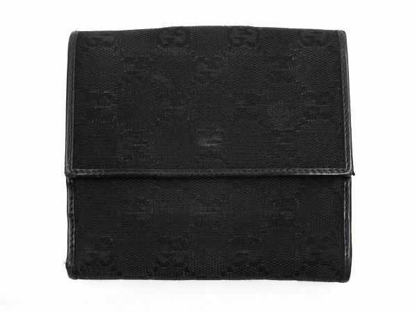 グッチ 財布 GUCCI 二つ折り財布 Wホック財布 ブラック 即納 【中古】 X14120
