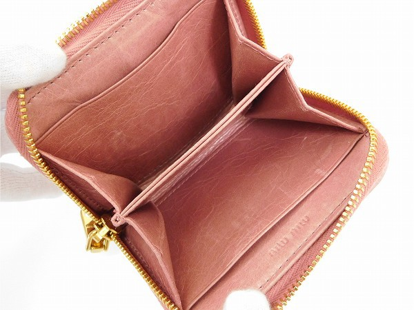 ミュウミュウ 財布 miumiu コインケース マテラッセ ピンク 即納 【中古】 X15798